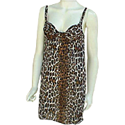 Vintage Leopard Print Mini Nightgown or Slip Bust 34A Built in Bra