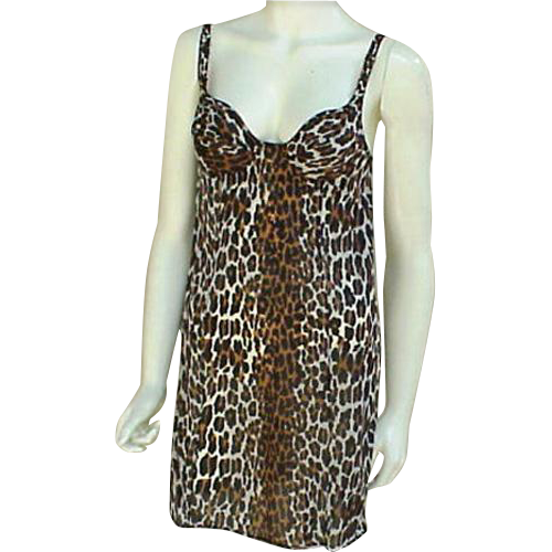 Vintage Leopard Print Mini Nightgown Or Slip Bust 34a