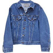 Levi Strauss Big E Denim Jacket 2 Pocket Single Stitch 525 Back Stamp Button