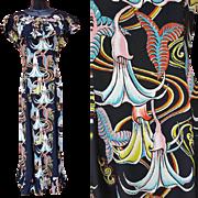 Rare 1940s Kamehameha Rayon Dress Angel Trumpet Signature Fabric Hawaii