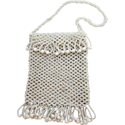 Vintage Fringed Hand Beaded Purse White Glass Unlined