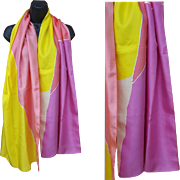 Long Wide Silk Scarf or Evening Wrap Spring Colors
