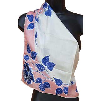 Very Early Vera Neumann Silk Scarf Blue Roses Hand Painted Accents