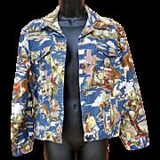 Women's Cowboy Print Jacket Rodeo Levi Style Size Medium