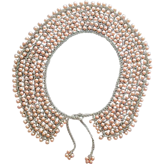 1960s Hand Crochet Collar with Pink Beads Silver Metallic Thread