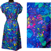 1960s Silk Dress Claude Monet Impressionist Style Print Medium - Large