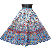 1950s Vintage Cotton Patio Nearly a full Circle Skirt Size Small - Medium