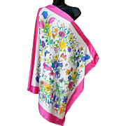 Stunning Italian Scarf Butterflies and Blossoms Large Size Spring Summer