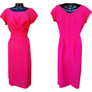 1950s Shocking Pink Crepe Cocktail Dress With Rhinestones Size Large
