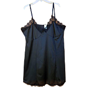Vintage Black Nylon Mini Slip or Chemise Size XXXL Bust 50 Plus Size
