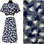 Rare 1940s Spun Rayon Maternity Dress Heart Print Size Extra Large
