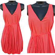 1960s Lingerie Lounge Romper One Piece Bubble Coral Nylon Size Medium Md