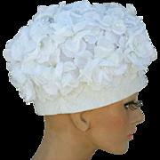 Gorgeous Vintage Hat White Silk Flowers 1960s Pillbox Style Medium