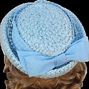 Baby Blue Pillbox Hat Woven Straw Big Ribbon and Netting Size Medium 1960s