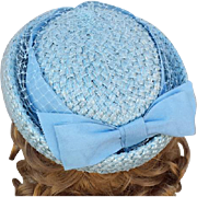 Baby Blue Pillbox Hat Woven Straw Big Ribbon and Netting Size Medium 1960s