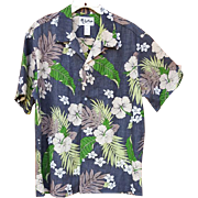 Men's Hawaiian Aloha Shirt Invisible Pocket Authentic Island Wear XL Extra Large