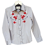 Women's Vintage Embroidered Western Shirt Rockabilly Rodeo Medium Md