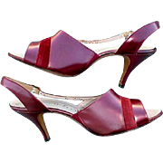 1960s  High Heel Shoes Unworn Burgundy Leather Size 8-1/2 -  9
