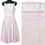 Vintage Cotton Sun Dress Lots of Lace Extra Small Size Candy Stripe
