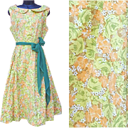 Early 1960s Cotton Dress Spring Summer Colors Size Large