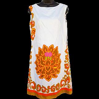 1970s Sleeveless Summer Shift Dress Cotton Sateen Bold Print Size Large L