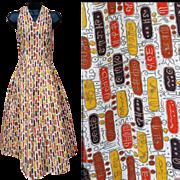 1960s Cotton Halter Sun Dress Open Back Full Skirt Bust 36 Size Large
