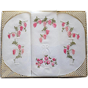 3 French Embroidered Cotton Handkerchiefs Mint in Package France