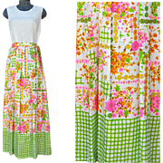 1960s Vintage Ankle Length Dress Patio Party to Lounge in Summer Color