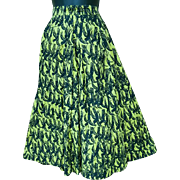1950s Cotton Skirt Chartreuse with Black Birds Size Extra Small X Sm