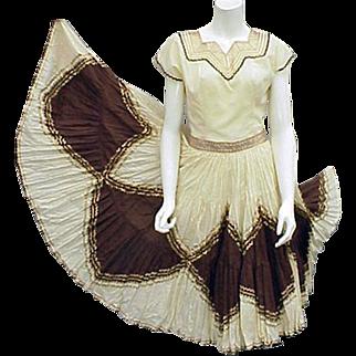 1960s Cotton Blouse Circle Skirt Southwest Patio Suit Lavish Decoration Size Small