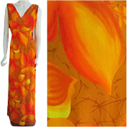 Vintage Hilo Hattie Hawaiian Summer Evening Gown Size Large