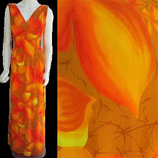 Vintage Hilo Hattie Hawaiian Summer Evening Gown Large Lg L