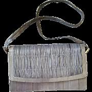 Vintage Eel Skin Purse Gray Leather Handbag Clutch Style