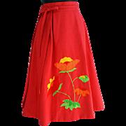 Reversible Wrap Skirt Poppies and Polka Dots Adjustable Small - Medium S M