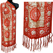 Silk Scarf or shawl with Fringe Batik Print Double Sided Extra Long