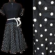1950s Cocktail Dress Black Crepe Polka Dot Taffeta Circle Skirt Size Small