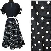 1950s Cocktail Dress Black Crepe Polka Dot Taffeta Circle Skirt Size Small