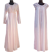 Modest Vintage Nightgown with Peignoir Pink Nylon Size Medium Unworn with Tags