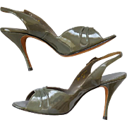 1950s High Heel Shoes Peep Toe Sling Backs Gray Vinyl on Leather 8 Medium Md