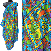 Large 1980s Hyper Color Sheer Scarf Bold Wild Print