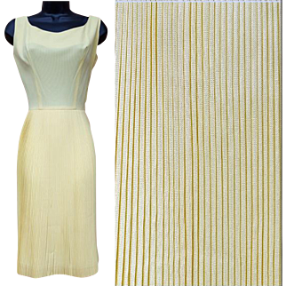 1960s Cocktail Dress in Yellow Rayon Crepe with Full Pleated Circle Skirt size Medium / M / Md
