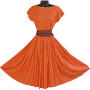 1950s Dress with Full Circle Skirt Beautiful Cotton with Fancy Belt Size Small S