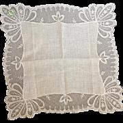 Wedding White Lace Handkerchief Linen Hankie Austria Mint