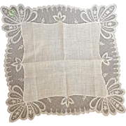 Wedding White Lace Handkerchief Linen Hankie Austria Mint