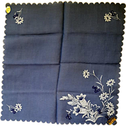 Vintage Switzerland Blue Linen Handkerchief White Embroidered Flowers Hanky