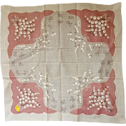 1950s Handkerchief Pink and White Lily of the Valley Flowers New / Old with Tags