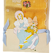 1930s Beautiful Lady Die-Cut Handkerchief Holder with Two Unused Hankies