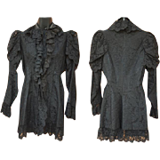 Antique 1880's Mourning Jacket in Black Cotton Lace Size Medium