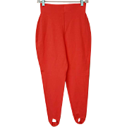 Vintage Stirrup Pants Coral Unworn Knit High Waist Medium
