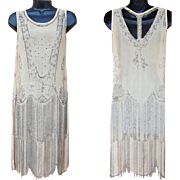 1920s Silk Beaded Flapper Dress for Pattern or Study